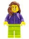 Minifig No: LLP020  Name: LEGOLAND Park Female with Reddish Brown Mid-Length Hair, Dark Purple Tracksuit, Lime Legs