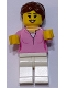 Minifig No: LLP021  Name: LEGOLAND Park Female with Reddish Brown Ponytail, Bright Pink Shirt, White Legs