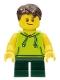 Minifig No: LLP023  Name: LEGOLAND Park Boy with Dark Brown Hair, Lime Sleeveless Hoodie, Dark Green Short Legs