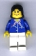 Minifig No: air021  Name: Airport - Blue with Scarf, Black Female Hair, Wide Smile and Eyebrows
