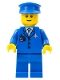 Minifig No: air046b  Name: Airport - Blue 3 Button Jacket and Tie, Blue Hat, Blue Legs, Reddish Brown Eyebrows