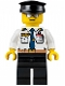 Minifig No: air049  Name: Airport - Pilot, White Shirt with Dark Blue Tie, Belt and ID Badge, Black Legs, Black Hat
