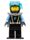 Minifig No: aqu015a  Name: Aquaraider Diver 1 with Black Flippers