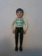 Minifig No: belvMale20  Name: Belville Male - Black Legs, White Arms, Light Lime / Turquoise / White Argyle Top, Black Hair