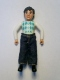 Minifig No: belvMale20a  Name: Belville Male - Black Legs, White Arms, Light Lime / Turquoise / White Argyle Top, Black Hair, Jeans