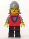 Minifig No: cas074  Name: Classic - Knight, Shield Red/Gray, Black Legs with Red Hips, Light Gray Neck-Protector