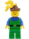 Minifig No: cas136  Name: Forestman - Blue, Brown Hat, Yellow 3-Feather Plume