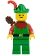 Minifig No: cas137a  Name: Forestman - Red, Green Hat, Red Feather, Quiver