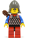 Minifig No: cas165a  Name: Scale Mail - Red with Blue Arms, Red Legs with Black Hips, Dark Gray Neck-Protector, Quiver