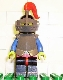 Minifig No: cas170  Name: Breastplate - Armor over Red, Black Helmet, Dark Gray Visor, Red Plume