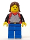Minifig No: cas197  Name: Breastplate - Red with Black Arms, Blue Legs, Brown Female Hair (6041)