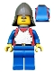Minifig No: cas201  Name: Breastplate - Red with Blue Arms, Blue Legs, Dark Gray Neck-Protector, Blue Plastic Cape