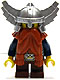 Minifig No: cas373  Name: Fantasy Era - Dwarf, Dark Orange Beard, Metallic Silver Helmet with Wings, Dark Blue Arms