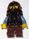 Minifig No: cas389  Name: Fantasy Era - Dwarf, Dark Brown Beard, Copper Helmet with Studded Bands, Sand Blue Arms, Smirk