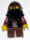 Minifig No: cas391  Name: Fantasy Era - Dwarf, Black Beard, Copper Helmet with Studded Bands, Dark Red Arms