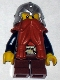 Minifig No: cas392  Name: Fantasy Era - Dwarf, Dark Orange Beard, Metallic Silver Helmet with Studded Bands, Dark Blue Arms, Brown Eyebrows, Thin Grin