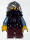 Minifig No: cas393  Name: Fantasy Era - Dwarf, Dark Brown Beard, Metallic Silver Helmet with Studded Bands, Sand Blue Arms