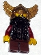 Minifig No: cas394  Name: Fantasy Era - Dwarf, Dark Brown Beard, Metallic Gold Helmet with Wings, Dark Red Arms, Vertical Cheek Lines