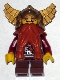 Minifig No: cas395  Name: Fantasy Era - Dwarf, Dark Orange Beard, Metallic Gold Helmet with Wings, Dark Red Arms