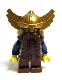 Minifig No: cas405  Name: Fantasy Era - Dwarf, Dark Brown Beard, Metallic Gold Helmet with Wings, Dark Blue Arms