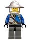 Minifig No: cas526  Name: Castle - King's Knight Blue and White with Chest Strap and Crown Belt, Helmet with Broad Brim, Open Grin