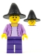 Minifig No: cas546  Name: Witch, Female, Medium Lavender Jacket with Necklace, Dark Purple Legs, Black Witch Hat