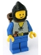 Minifig No: cas553  Name: Peasant - Blue Legs, Black Hood, D-Basket