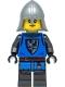 Minifig No: cas555  Name: Black Falcon - Castle Guard Female, Flat Silver Neck-Protector