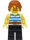 Minifig No: cas556  Name: Blacksmith - White Tank Top with Blue Stripes, Black Legs, Dark Orange Hair