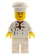Minifig No: chef017b  Name: Chef - White Torso with 8 Buttons, White Legs, Reddish Brown Eyebrows