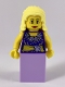 Minifig No: col265  Name: Musician - Female, Blouse with Gold Sash and Flowers, Lavender Skirt, Bright Light Yellow Hair