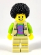 Minifig No: col266  Name: Musician - Male, Vest with Fringe over Lime Top with Pink and Blue Swirl, Black Bushy Hair