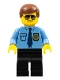 Minifig No: col282  Name: Police - City Shirt with Dark Blue Tie and Gold Badge, Black Legs, Brown Male Hair, Sunglasses