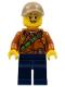 Minifig No: col308  Name: City Jungle Explorer Female - Dark Orange Shirt with Green Strap, Dark Blue Legs, Silver Glasses, Dark Tan Cap with Hole