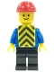 Minifig No: con013  Name: Plain Blue Torso with Blue Arms, Black Legs, Red Construction Helmet, Yellow Chevron Vest (Printed)