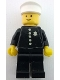 Minifig No: cop014s  Name: Police - Torso Sticker with 5 Buttons and Badge, Black Legs, White Hat
