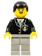 Minifig No: cop035  Name: Police - Suit with Sheriff Star, Light Gray Legs, Black Male Hair