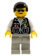 Minifig No: cop037  Name: Police - Sheriff Star and 2 Pockets, Light Gray Legs, White Arms, Black Male Hair