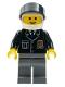 Minifig No: cop049  Name: Police - City Suit with Blue Tie and Badge, Dark Bluish Gray Legs, White Helmet, Black Visor