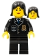Minifig No: cop053  Name: Police - City Suit with Blue Tie and Badge, Black Legs, Black Female Hair