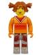 Minifig No: cre001  Name: Tina, Orange Torso, Light Gray Legs