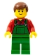 Minifig No: cty0058a  Name: Overalls Farmer Green, Reddish Brown Male Hair, Black Eyebrows