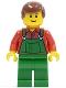 Minifig No: cty0058b  Name: Overalls Farmer Green, Reddish Brown Male Hair, Reddish Brown Eyebrows