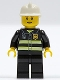 Minifig No: cty0090b  Name: Fire - Reflective Stripes, Black Legs, White Fire Helmet, Reddish Brown Eyebrows, Thin Grin, Yellow Hands