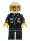 Minifig No: cty0092  Name: Police - City Suit with Blue Tie and Badge, Black Legs, White Helmet, Tran-Black Visor, Smile
