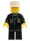 Minifig No: cty0095  Name: Police - City Suit with Blue Tie and Badge, Black Legs, Vertical Cheek Lines, Brown Eyebrows, White Hat