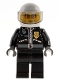 Minifig No: cty0102  Name: Police - City Leather Jacket with Gold Badge, White Helmet, Trans-Black Visor, Orange Sunglasses