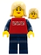 Minifig No: cty0119  Name: Red Shirt with 3 Silver Logos, Dark Blue Arms, Dark Blue Legs, Tan Female Hair