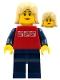 Minifig No: cty0119  Name: Red Shirt with 3 Silver Logos, Dark Blue Arms, Dark Blue Legs, Tan Female Hair