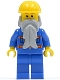 Minifig No: cty0123b  Name: Blue Jacket with Pockets and Orange Stripes, Blue Legs, Beard, Yellow Construction Helmet, Reddish Brown Eyebrows